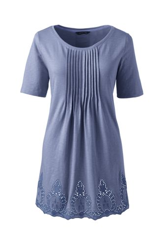 Women's Regular Embroidered Slub Jersey Tunic