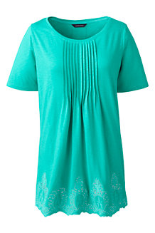 Women's Embroidered Slub Jersey Tunic