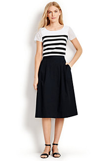 Women's Stretch Poplin Midi Skirt