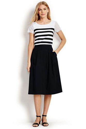 La Jupe Midi Stretch Coloris Noir, Femme Stature Standard