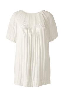 Kurzarm-Bluse mit Akkordeonplissee für Damen