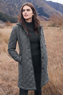 Women's Quilted Wool Blend Coat