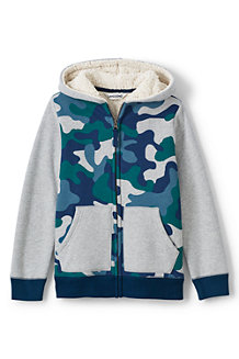 Boys' Print Colourblock Sherpa-lined Hoodie