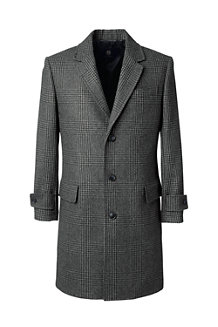 Men's Plaid Wool Blend Overcoat