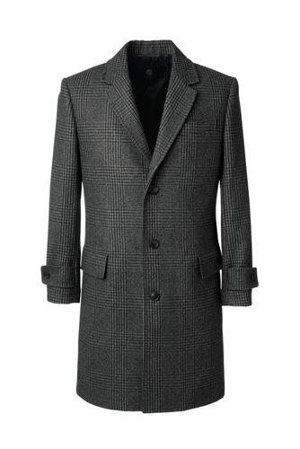 Men's Plaid Wool Blend Overcoat