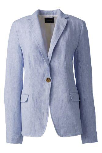 La Veste en Lin Rayée Femme, Taille Standard