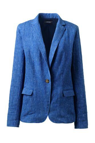 Buy Lands' End Women's Regular Stripe Linen Jacket - 8, Blue at £50.00 from Land's End