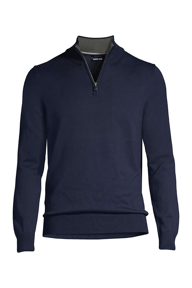 Men's Fine Gauge Supima Cotton Quarter Zip Sweater, Front