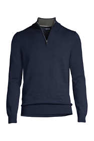 Men's Tall Fine Gauge Supima Cotton Quarter Zip Sweater