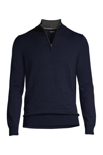 Men's Fine Gauge Zip-neck Cotton Jumper