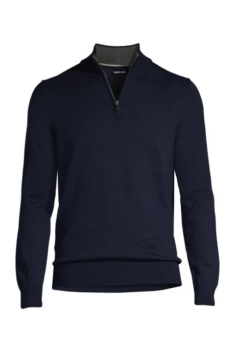 Men's Tall Fine Gauge Supima Cotton Quarter Zip Sweater