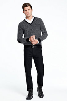 Men's Herringbone V-neck Sweater