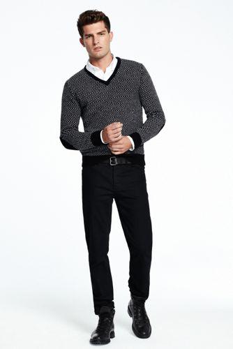 Merino/Lambswool-V-Pullover mit Fischgrat-Muster für Herren