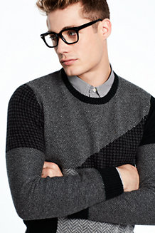 Men's Patchwork Lambswool Sweater