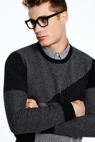 Lambswool-Pullover im Patchwork-Stil für Herren