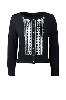 Women's Supima® Fitted Embroidered Cardigan