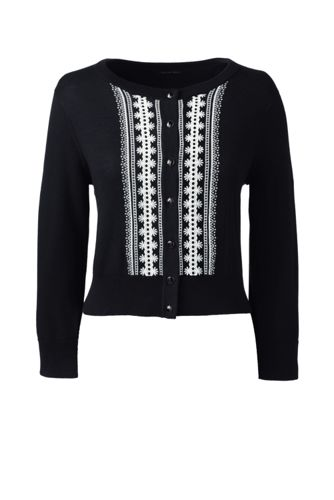 Women's Regular Supima® Fitted Embroidered Cardigan