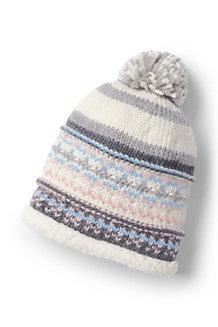 Women's Fair Isle Knit Sherpa Beanie Hat
