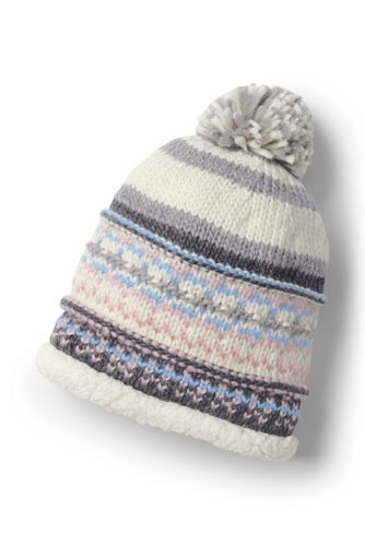Women's Fair Isle Knit Sherpa Beanie Hat