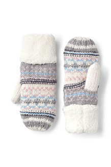 Women's Fair Isle Knit Sherpa Mittens
