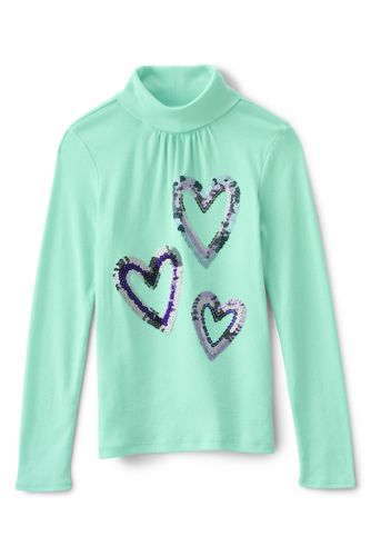 Girls' Long Sleeve Graphic Polo Neck