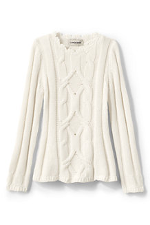Girls' Cable Crew Neck Jumper