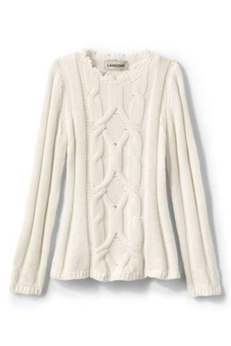 Zopfmuster-Pullover im Baumwoll-Merino-Mix für Mädchen