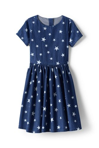 Little Girls' Pattern Chambray Twirl Dress