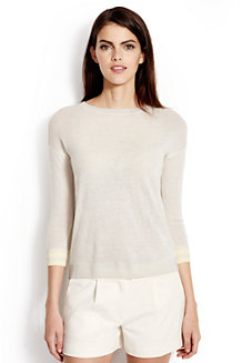 Women's Tipped Cuff Cashmere Crew Neck