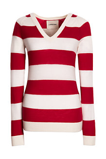 Women's Striped Cashmere V-neck