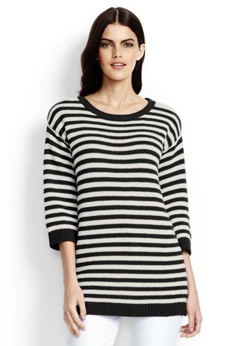 Women's Lofty Cotton Striped Crew Neck Tunic