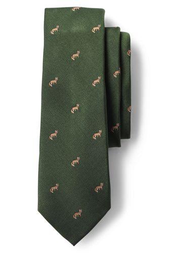 Handgenähte Seiden-Krawatte mit Fuchs-Dessin für Herren