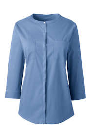 Women's 3/4 Sleeve Covered Placket Stretch Dress Shirt