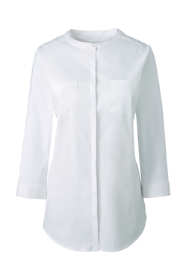 Women's Plus Size 3/4 Sleeve Covered Placket Stretch Dress Shirt