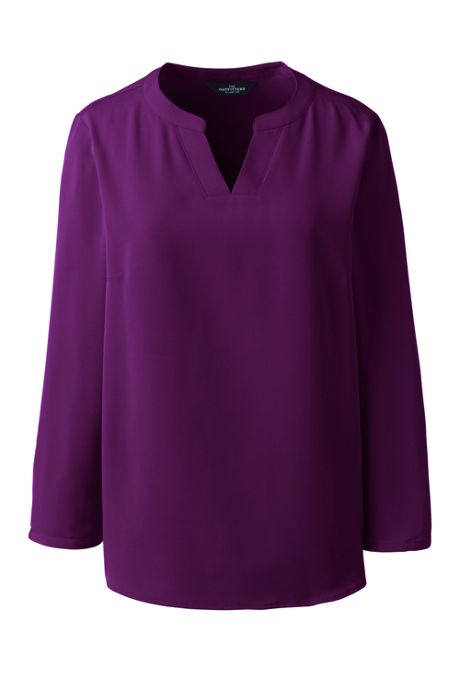 Women's Petite Bracelet Sleeve Split Neck Soft Blouse