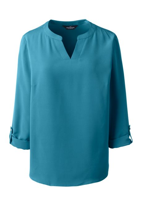 Women's Roll Tab Sleeve Split Neck Blouse Top