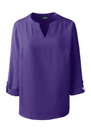 Women's Bracelet Sleeve Split Neck Soft Blouse