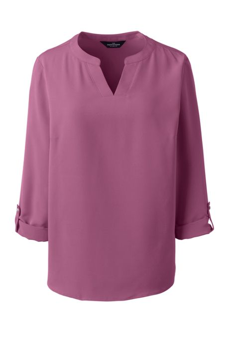 Women's Petite Roll Tab Sleeve Split Neck Blouse Top
