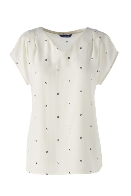 Women's Plus Short Sleeve Pintuck Printed Soft Blouse