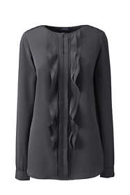 Women's Plus Size  Long Sleeve Cascading Ruffle Soft Blouse