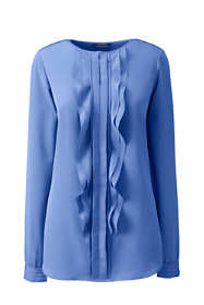School Uniform Women's Petite Long Sleeve Cascading Ruffle Soft Blouse