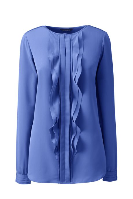 School Uniform Women's Long Sleeve Cascading Ruffle Soft Blouse