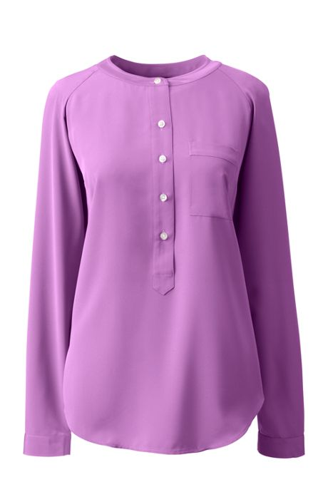 Women's Plus Size Long Sleeve Henley Soft Blouse