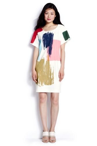 Women's Print Crepe T-Shirt Dress