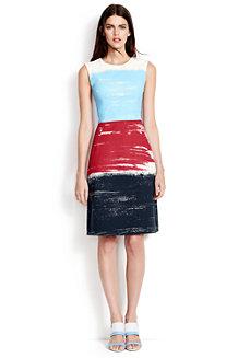 Women's A-line Sleeveless Block Stripe Dress