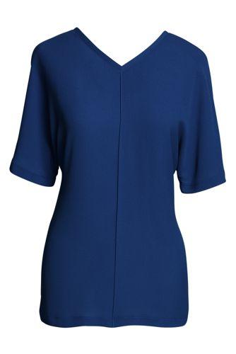 Lässiges Crêpe-Shirt mit V-Ausschnitt für Damen