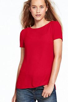 Crêpe-Kurzarmshirt für Damen