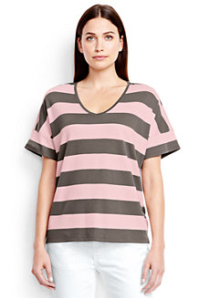 Women's Stripe Slouchy V-neck Tee