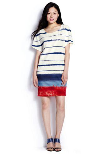 レディス・CANVAS・ブラッシュストローク・ストライプ・Tシャツ・ドレス