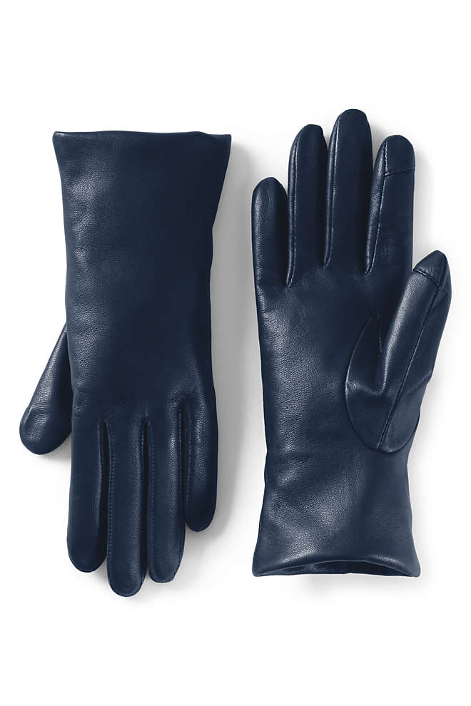 Women's EZ Touch Screen Cashmere Lined Leather Gloves, Front